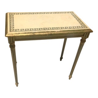 Vintage Neoclassical Gold and Beige Greek Wave Table For Sale