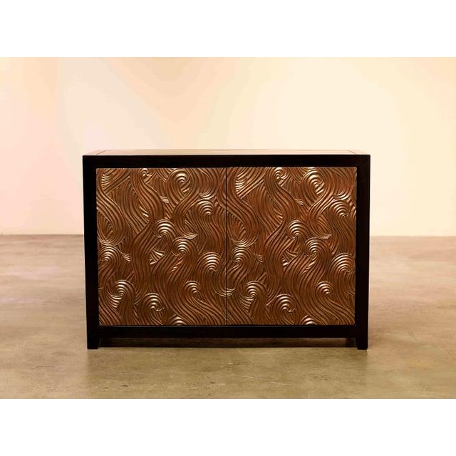 Dragon Swirl Bar Cabinet Antique Copper Hand Repoussé Elmwood Limited Edition Repoussé is the traditional art of hand-...