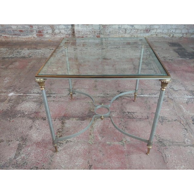 Vintage Brass French Side Tables W/Square Glass Top- a Pair For Sale - Image 9 of 10