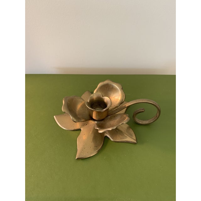 Modernist Brass Floral Candlestick Holder With Handle For Sale In Minneapolis - Image 6 of 6