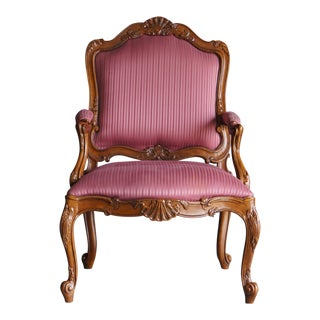 Drexel Heritage French Carved Accent Chair For Sale