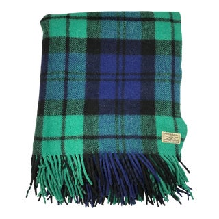 Vintage Foxford Blackwatch Blue & Green Tartan Wool Throw