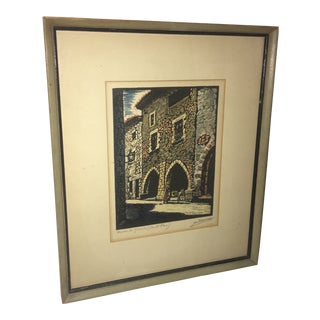 """Vintage """"Santa Pau Village in Spain"""" Etching Print For Sale"""