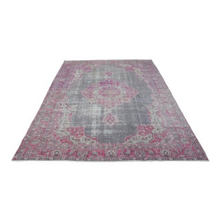 "Vintage Turkish Anatolian Faded Red Rug-6'9x9'4"" For Sale"