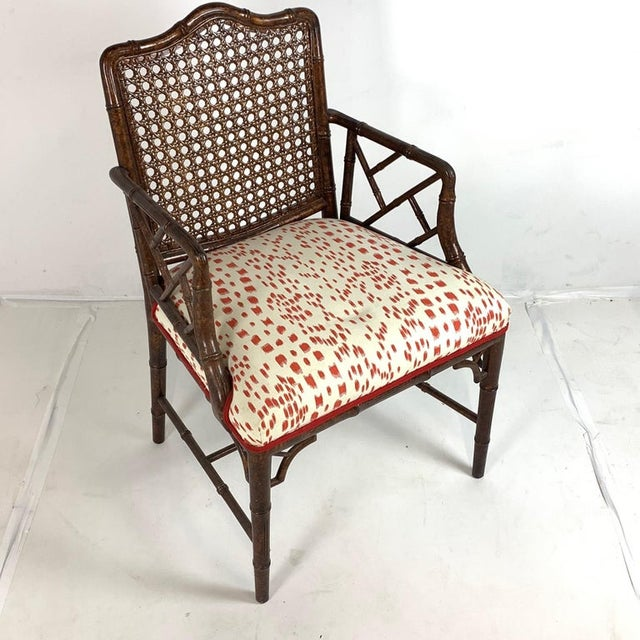 Set of 6 Upholstered Faux Bois Bamboo Chinese Chippendale Cane Dining Chairs For Sale - Image 12 of 13