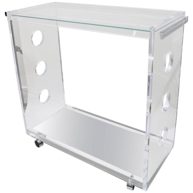 Customizable Rectangular Shaped Bespoke Bar Cart in Lucite and Mirror by Alexander Millen For Sale