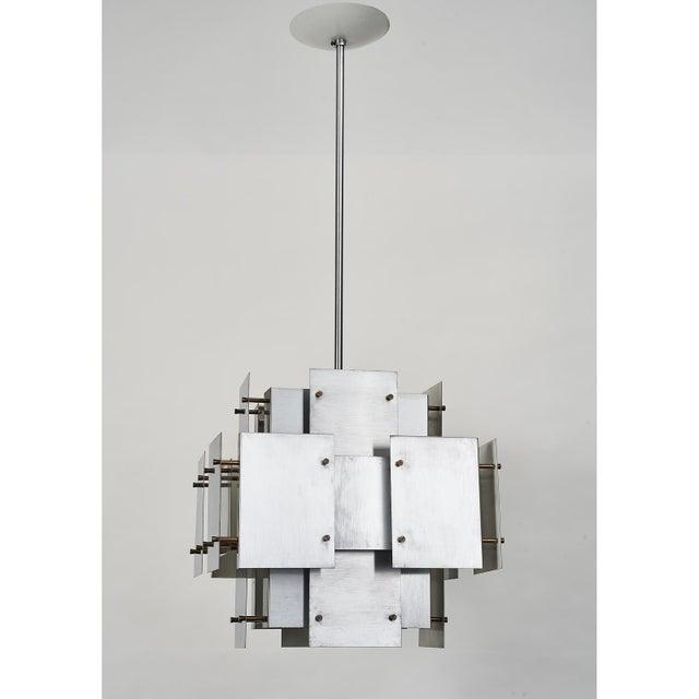 Mid-Century Modern Satin Steel Floating Panel Chandelier by Robert Sonneman For Sale - Image 3 of 11