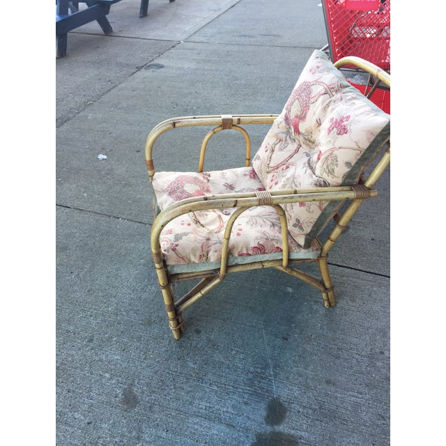 """Vintage bamboo Arm Chair with cool upholstery. In excellent condition, no flaws. This measures 29"""" deep , 33"""" tall x 25""""..."""