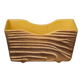 Vintage Shawnee Pottery Yellow Brown Texture Planter