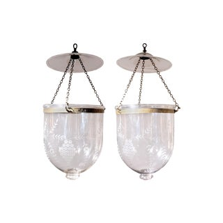 Antique Hand Blown Glass Bell Jar Lanterns With Grape Etching - a Pair For Sale