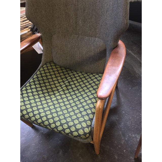 Stunning and Rare Low Back Aksel Bender Madsen oak and teak upholstered Low Back Lounge Chair for Bovenkamp C. 1960s.