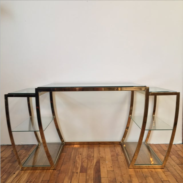 Rare Modernist Brass & Glass Desk or Console Table - Image 2 of 8