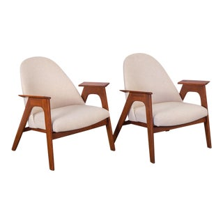 Spectacular American Walnut Armchairs- A Pair For Sale
