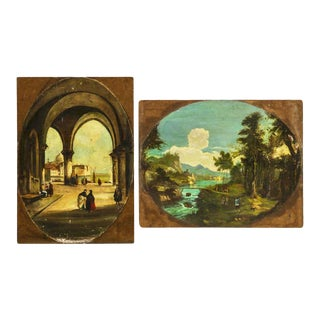 Venice Scene Featuring Architecture and Summer Landscape Paintings on Board, Unframed - a Pair For Sale
