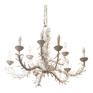 1970s White Faux Coral Metal Chandelier 9 Lights For Sale