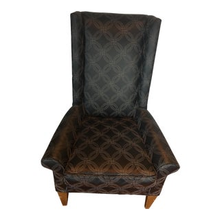 Black Upholstered Modern Wing Chair
