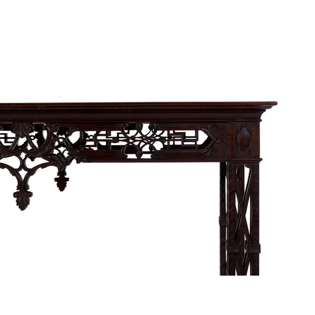 Wood Carved Mahogany English Antique Library Console Table For Sale - Image 7 of 13