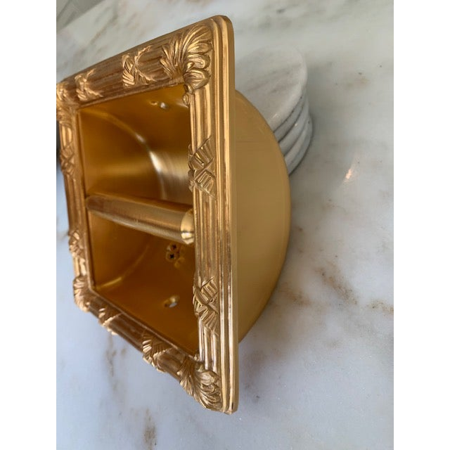 Mid-Century Modern Sherle Wagner Gold Plate Recessed Toilet Paper Holder For Sale - Image 3 of 7