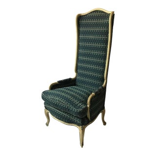 1950s French Style High Back Wing Chair For Sale