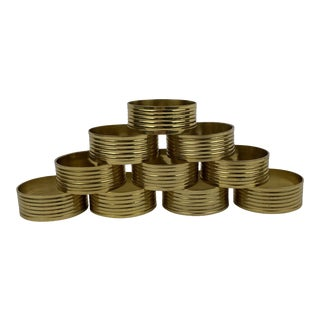 Vintage Sculptural Round Brass Napkin Rings - Set of 10 For Sale