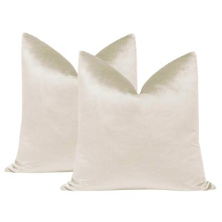 "22"" Italian Silk Velvet Pillows in Alabaster - a Pair For Sale"