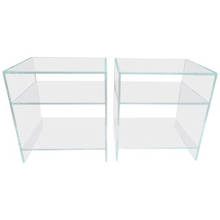 Custom Bespoke Lucite Nightstands / End Tables - a Pair For Sale