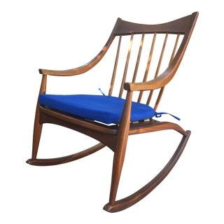 1960s Mid Century Modern Walnut Rocking Rocker Chair