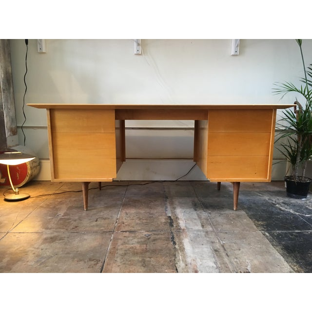 This classic, sleek, and professional desk based on designer Paul McCobb. 1950's era, with bold lines in beautiful yellow...
