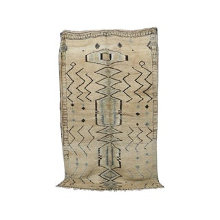 "Vintage Moroccan Boujad Tan Rug- 6'9"" X 11'5"" For Sale"
