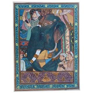 Antique Elephant Shaw Jehan Indian Mogul Painting