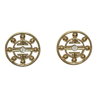 1980s Givenchy Gold Plated Crystal Clip-Back Earrings For Sale
