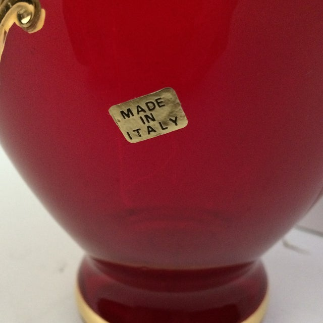 Ruby Red Italian Hand Blown Glass Amp Painted Gold Floral
