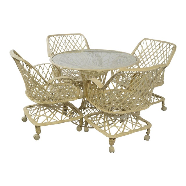 Russell Woodard Spun Fiberglass Table & Chairs - Set of 5 - Image 1 of 11