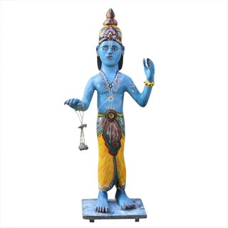 Antique Polychrome Krishna Statue
