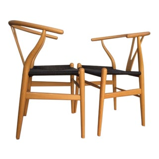 Original Branded Hans Wegner for Carl Hansen Wishbone Chairs - A Pair For Sale