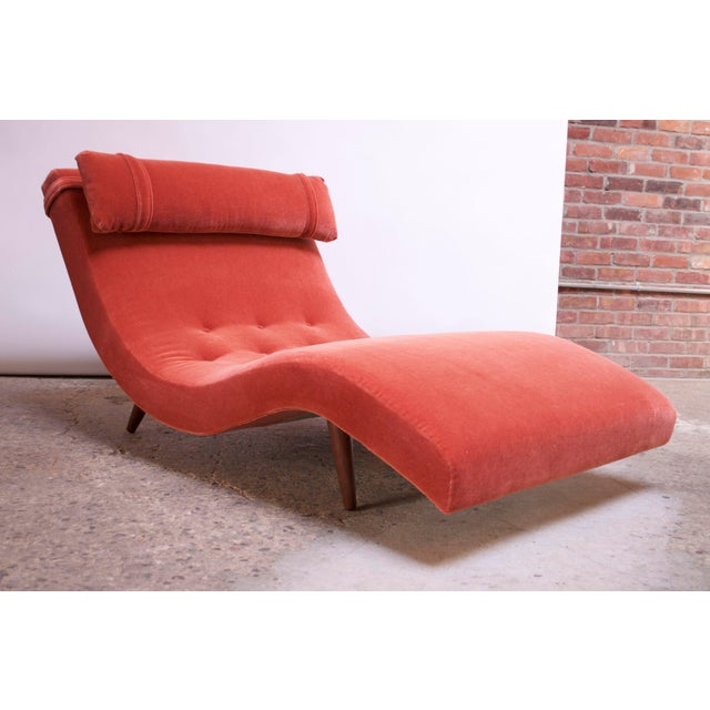 """Adrian Pearsall for Craft Associates """"Wave"""" Chaise Lounge in Coral Mohair For Sale - Image 13 of 13"""