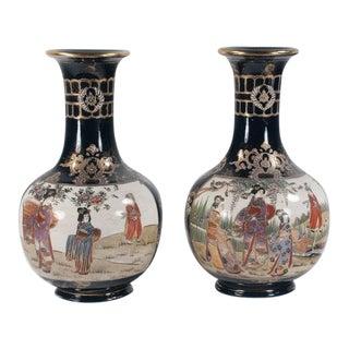 Satsuma Porcelain Vases - a Pair For Sale
