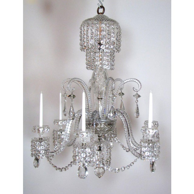 Six arm crystal chandelier. It was hanging in the dining room of a brownstone in Boston's Back Bay for generations. Roped...