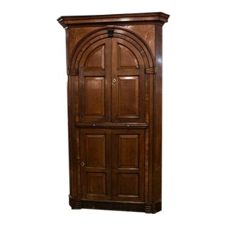 English Oak With Satinwood Inlay Corner Cabinet For Sale