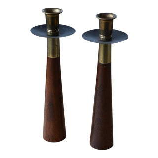 Mid-Century Modern Teak & Brass Candle Holders - A Pair