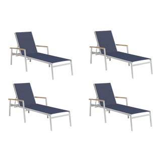 Outdoor Sling Chaise Lounge, Natural and Dark Blue (Set of 4) For Sale