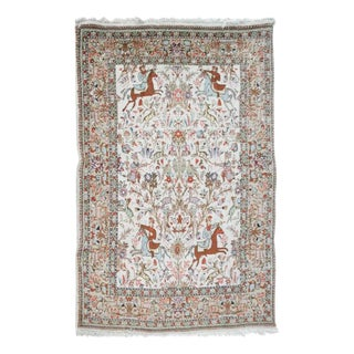 20th Century Persian Kirman Pictorial Decorated Rug For Sale