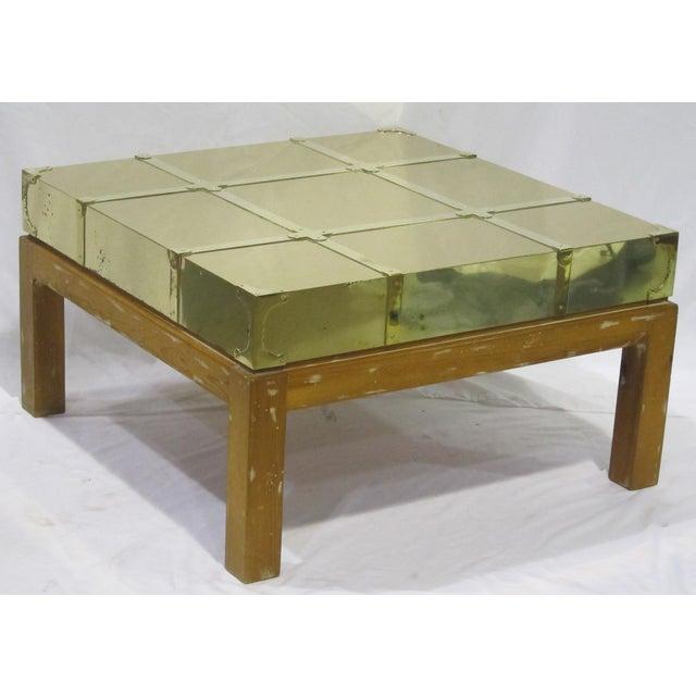 Mid-Century Modern Vintage Sarreid LTD Brass Cocktail Table For Sale - Image 3 of 5