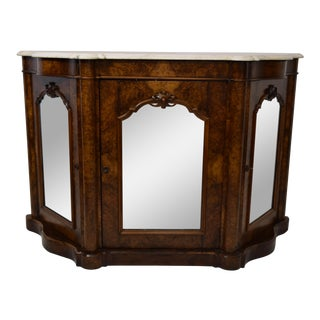 Mid 19th- Century Burl Walnut Console W/Original Marble For Sale