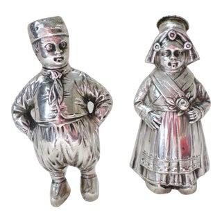 Antique 800 Silver Dutch Girl & Boy Salt & Pepper Shakers Statues - a Pair For Sale