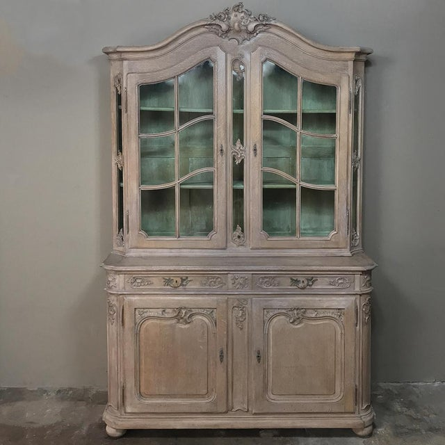 19th Century Country French Provincial Stripped Bookcase ~ Vitrine For Sale - Image 13 of 13