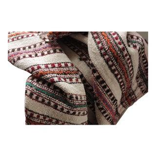 Vintage Folk Art Homespun Wool Linen Hemp Cotton Plaid Textile Throw Blanket For Sale
