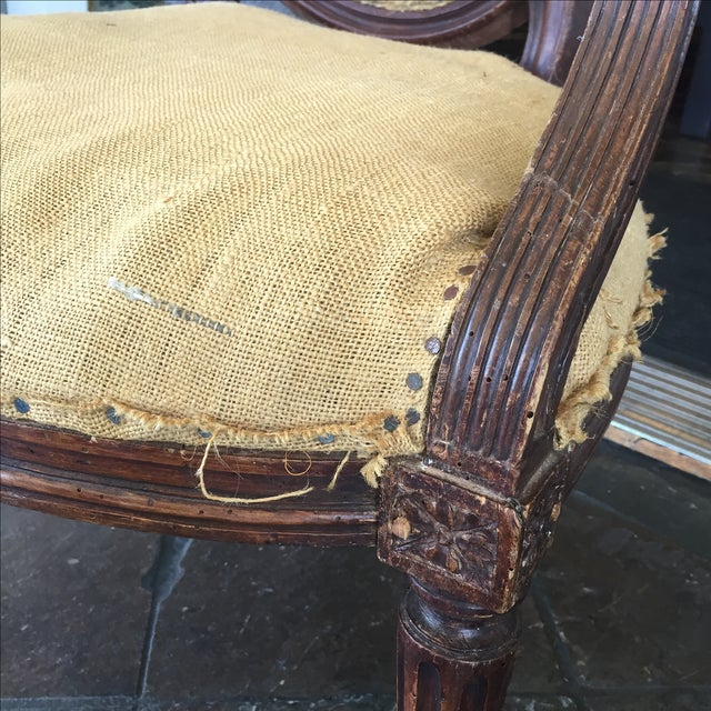 Antique Burlap Upholstered Chair - Image 6 of 8