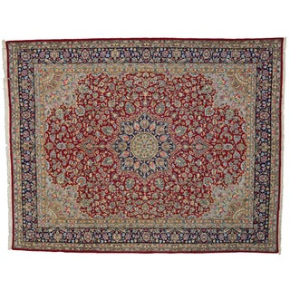 Vintage Persian Kerman Rug - 10'01 X 12'09 For Sale