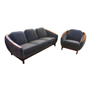 Vintage Mid Century Modern Danish R. Huber Sofa and Barrel Back Lounge Chair Newly Upholstered - Set of 2 For Sale
